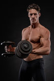 Bodybuilder with dumbbells Royalty Free Stock Photography