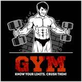 Bodybuilder with dumbbells - monochrome vector illustration Stock Photo