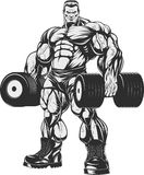 Bodybuilder with dumbbells. Vector illustration, bodybuilder doing exercise with dumbbells for biceps Stock Images