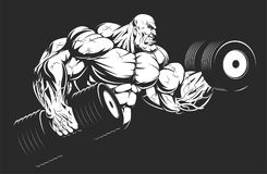 Bodybuilder with dumbbells. Vector illustration, bodybuilder strongmen doing exercise with dumbbells for biceps Royalty Free Stock Image