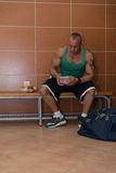 Bodybuilder Eating Healthy Diet Food Out Of Tupperware Stock Photography