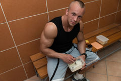 Bodybuilder Eating Healthy Diet Food Out Of Tupperware Stock Photos
