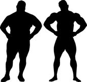 Bodybuilder en vette mens Royalty-vrije Stock Fotografie