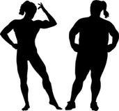 Bodybuilder en vette vrouw Stock Afbeelding