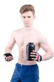 Bodybuilder et pilules Après la formation Photo stock