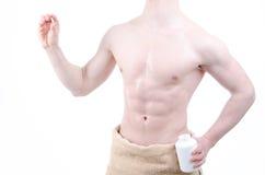 Bodybuilder et pilules Après la formation Photo libre de droits