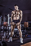 Bodybuilder execute exercise in gym Royalty Free Stock Photo