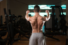 Bodybuilder Exercising Back On Cable Machine Stock Images