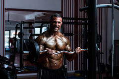 Bodybuilder Exercising Biceps With Barbell In Gym Royalty Free Stock Image