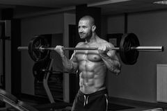 Bodybuilder Exercising Biceps With Barbell Stock Image