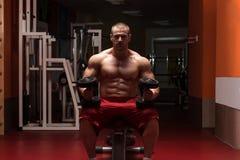 Bodybuilder Exercising Biceps With Dumbbells Royalty Free Stock Photo