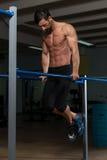 Bodybuilder Exercising On Parallel Bars Stock Image