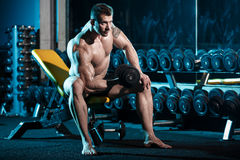 Bodybuilder exercising with weights Stock Images