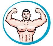 Bodybuilder feliz stock de ilustración