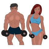 Bodybuilder and fitness girl, vector illustration. Vector illustration of bodybuilder and fitness girl Royalty Free Stock Image