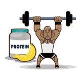 Bodybuilder fitness protein banana. Vector illustration eps 10 stock illustration