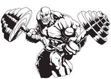 Bodybuilder Flex zware barbell Stock Afbeeldingen