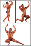 Bodybuilder flexing his muscles in studio set Stock Images