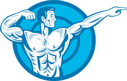 Bodybuilder Flexing Muscles Pointing Side Retro Royalty Free Stock Photography