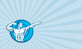 Bodybuilder Flexing Muscles Pointing Side Retro Stock Images