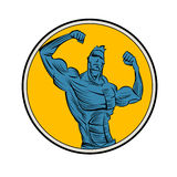 Bodybuilder from the front double biceps. Stock Photography
