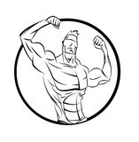 Bodybuilder from the front double biceps. Royalty Free Stock Photography