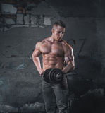 Bodybuilder on grunge wall royalty free stock photography