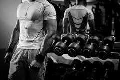 Bodybuilder guy close up black and white Royalty Free Stock Images