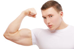 Bodybuilder guy demonstrating Royalty Free Stock Photo