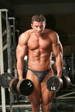Bodybuilder in the gym. Training shot of a young man in the gym, dumbell, shrugs Stock Photos