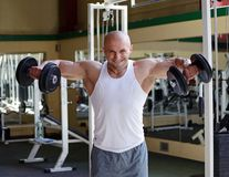 Bodybuilder in gym Stock Photo