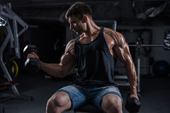 Bodybuilder in the gym Stock Images