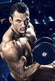 Bodybuilder in gym Stock Images