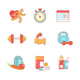 Bodybuilder, health, fitness thin line icons set Stock Image