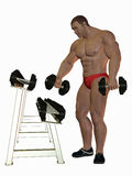 Bodybuilder with heavy weights Stock Image