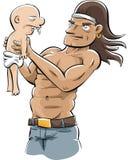 Bodybuilder Holding Baby Stock Image
