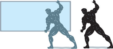 Bodybuilder holding screen. Stock Images