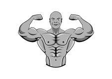 Bodybuilder Homem muscular forte atleta ou lutador ilustração stock