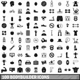 100 bodybuilder icons set, simple style. 100 bodybuilder icons set in simple style for any design vector illustration Royalty Free Stock Photo