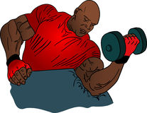 Bodybuilder illustration. Lifting weights Royalty Free Illustration