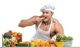 Bodybuilder kucharz Obrazy Stock