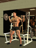 Bodybuilder lifting barbell Stock Photo
