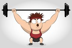 Bodybuilder lifting barbell. Weightlifter. Strong bodybuilder sportsman lifting heavyweight barbell over his head. vector illustration
