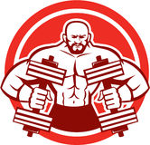 Bodybuilder Lifting Dumbbell Circle Retro Royalty Free Stock Photo