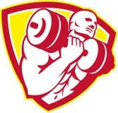 Bodybuilder Lifting Dumbbell Shield Retro Stock Image
