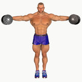 Bodybuilder lifting dumbbells Stock Photography