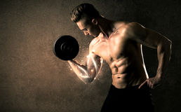 Bodybuilder lifting weight with energetic white lines concept. On backround Stock Photos