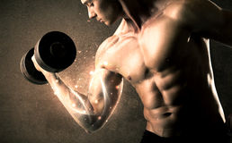 Bodybuilder lifting weight with energetic white lines concept Stock Image