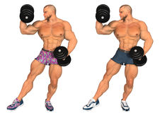 Bodybuilder lifting weights Stock Images