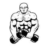 Bodybuilder. In line-art Royalty Free Stock Image